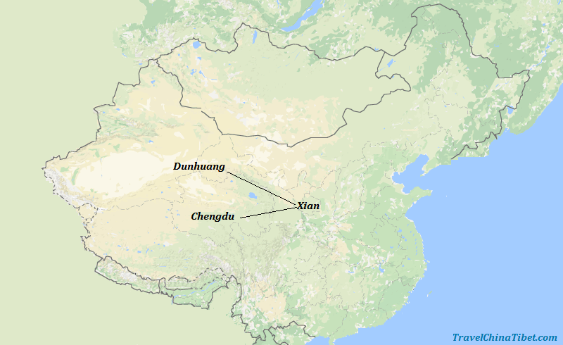 8 Days Silk Road Tour with Chengdu Panda  Map