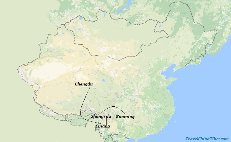 10 Days Sichuan & Yunnan Adventure Tour  Map
