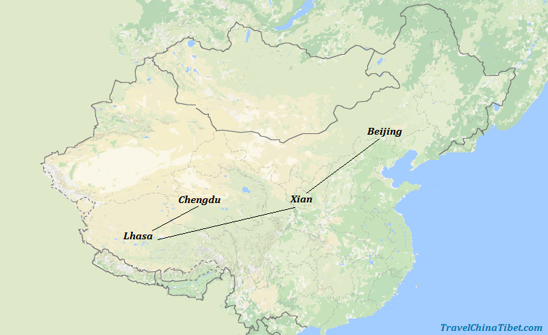 11 Days China Tour with Chengdu Lhasa Xian Beijing Map