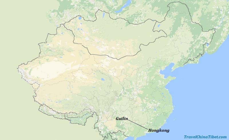 5 Days Guilin Tour from Hongkong   Map