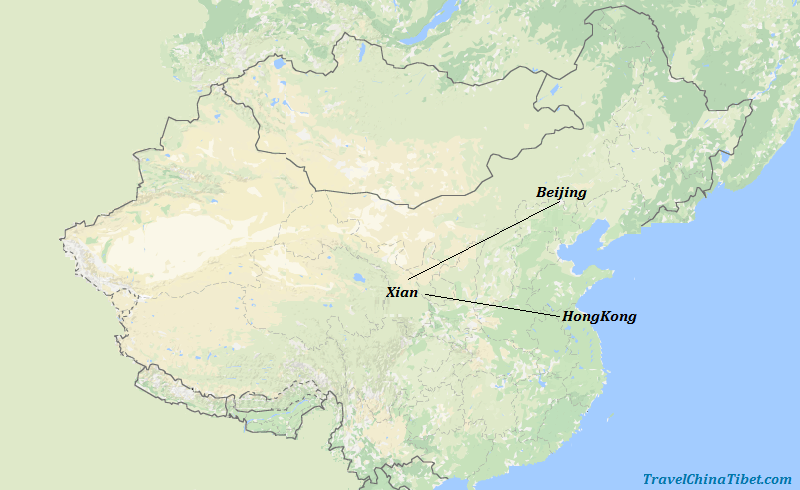 8 Days Hong Kong & Xian & Beijing Essence Tour  Map