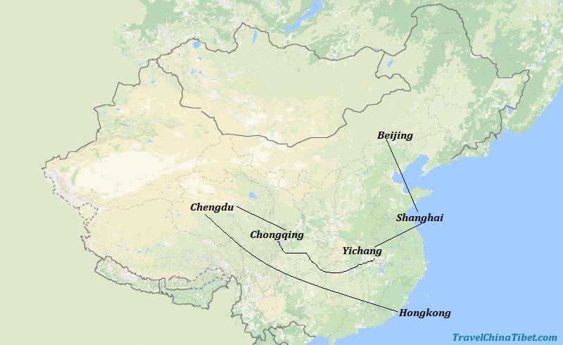 13 Days China Yangtze Tour with Panda Map