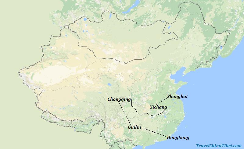 11 Days HK & Guilin & Yangtze & Shanghai Map