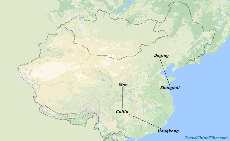 12 Days China Highlights from Hong Kong Map