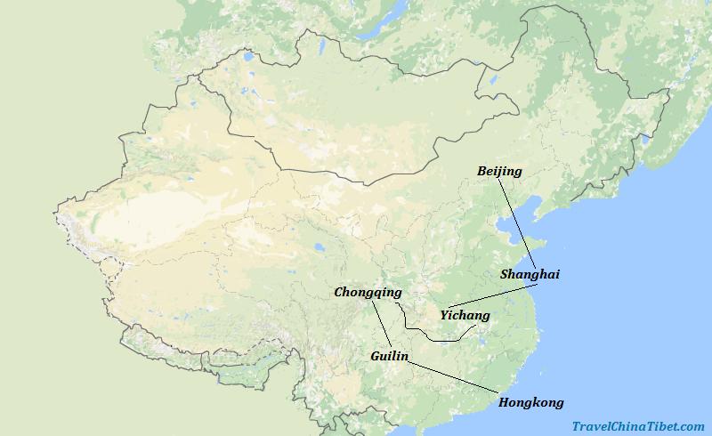 14 Days Best of China with Yangtze Cruise  Map
