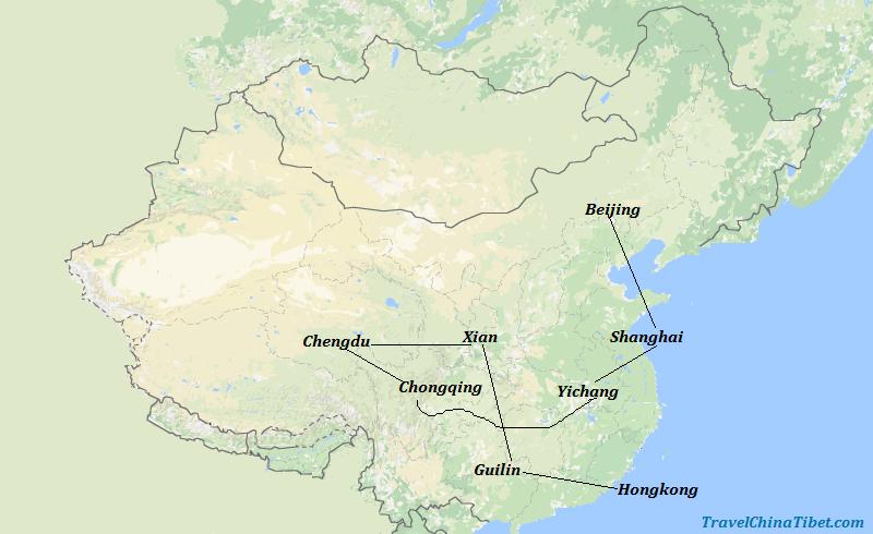 17 Days China Panorama from Hong Kong  Map