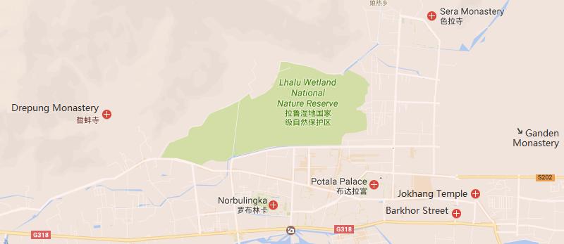 4 Days Lhasa City Group Tour Map