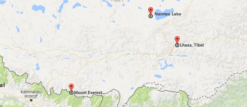 9 Days Lhasa & Everest & Namtso Lake Group Tour Map