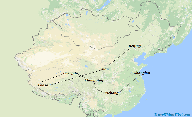 16 Days China Tibet Tour with Panda and Yangtze Cruise Map