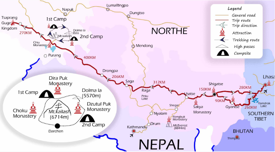 15 Days Mt. Kailash Trek Group Tour Map