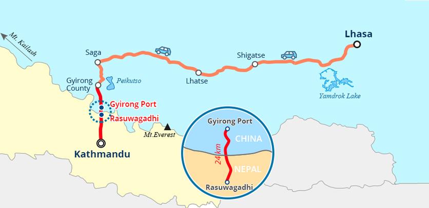 20 Days Tibet & Nepal & Bhutan Tour Map